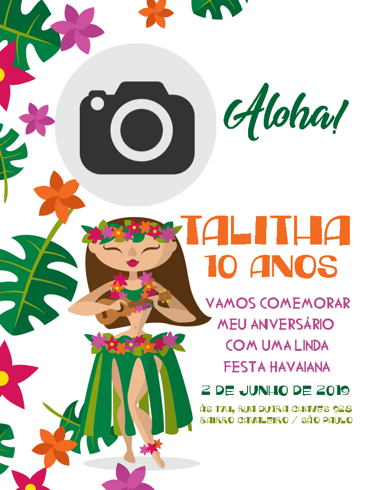 Convite festa Havaiana, infantil, menina, tropical, flores, plantas, folhas, foto, comemoração, celebração, online, digital, personalizado, whatsapp,