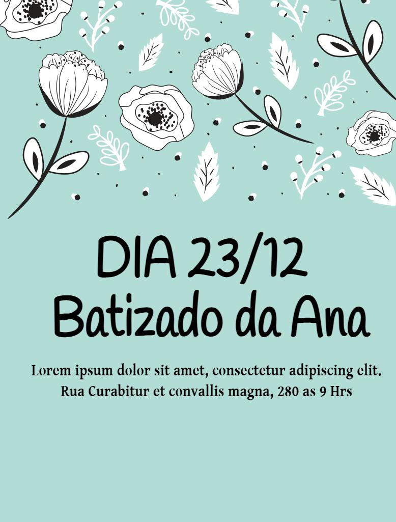 Convite Batizado Flores, Flores, Menina, Verde, batimo aniversário, primavera, comemoração, celebração, online, digital, personalizado, whatsapp