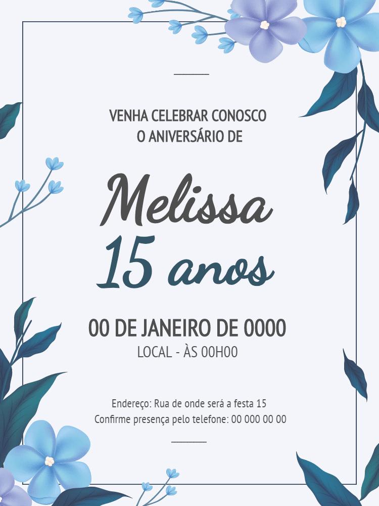 Convite Aniversário 15 anos, debutante, azul, festa, floral, primavera, casamento, adulto, feminino, comemoração, celebração, digital, online, personalizado, whatsapp