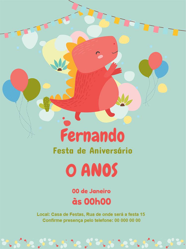 Convite Aniversário Dinossauro, festa, menino, balão, bandeirinhas, comemoração, celebração, online, digital, whatsapp, azul