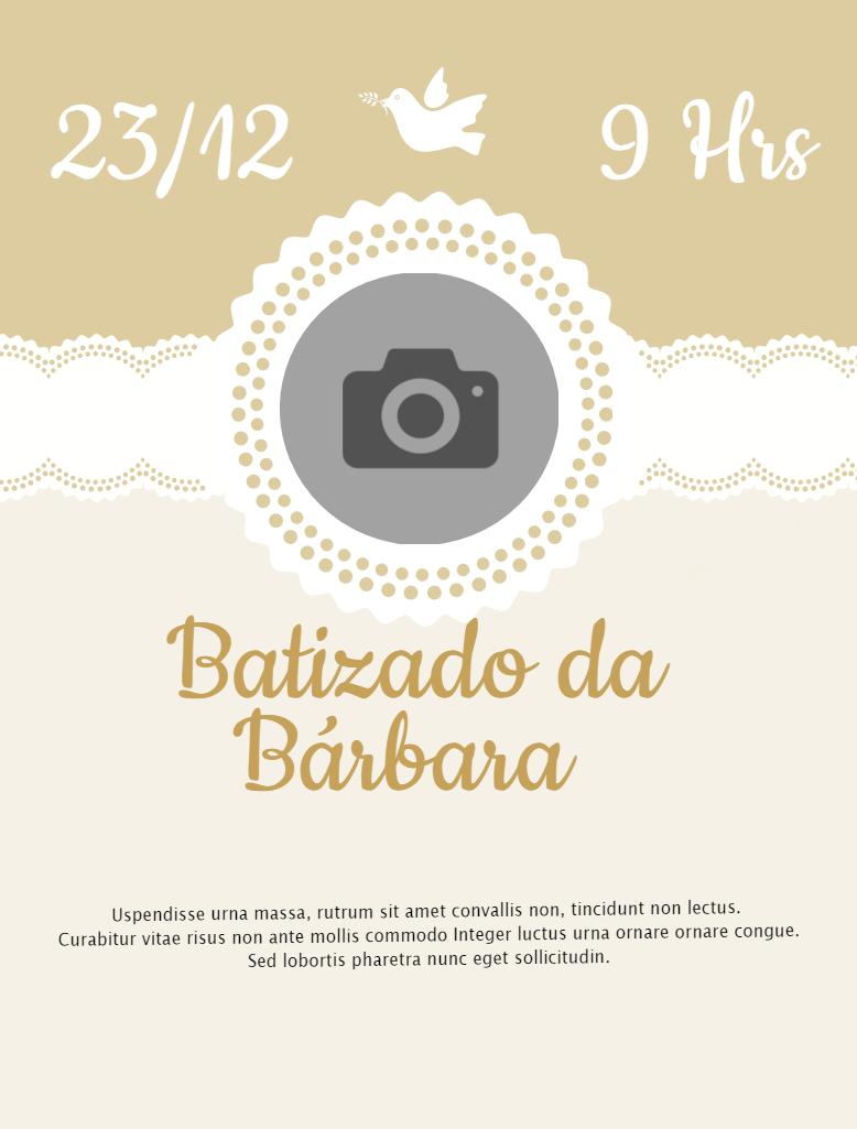 Convite Batizado, Menina, Dourado, pomba, religião, religioso, delicado, comemoração, celebração, online, digital, personalizado, whatsapp, foto, pomba