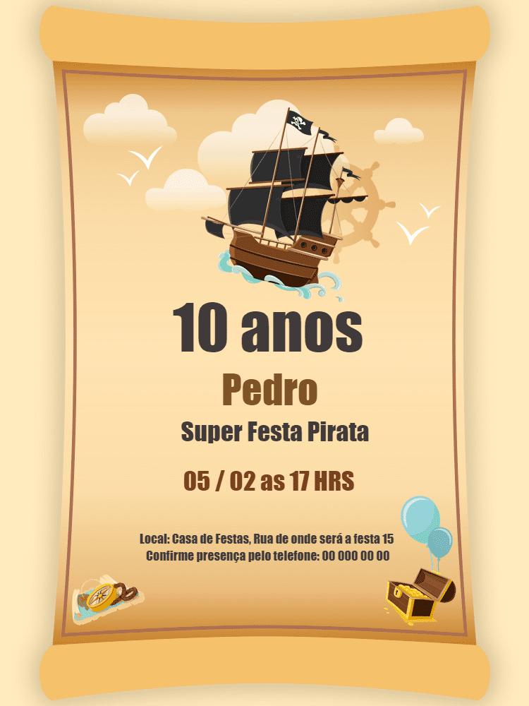 Convite Aniversário Pirata, festa, menino, barco, bau, mapa, tesouro, infantil, celebração, comemoração, online, personalizado, whatsapp