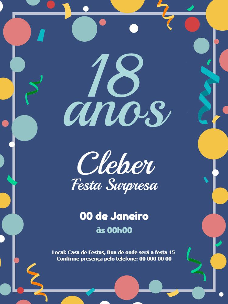 Convite Aniversário Festa, menino, azul, confete, bolhas, infantil, comemoração, celebração, online, digital, whatsapp, personalizado
