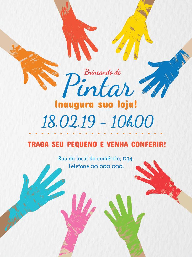 Convite Loja Moda Infantil, comércio, mãos, colorido, tinta, menino, menina, inauguração, comemoração celebração, divulgação, propaganda, online, digital, personalizado, whatsapp