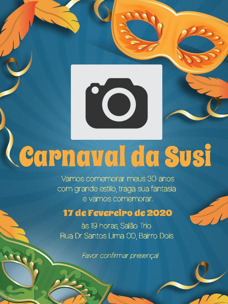 Convite Aniversário Carnaval, foto, mascara, azul, laranja, verde, festa, comemoração, celebração, online, digital, personalizado, whatsapp