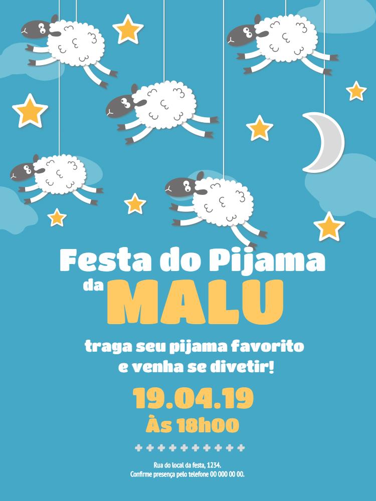 Convite Festa do Pijama, infantil, festa, chá, bebê, estrelas, ovelhas, carneiros, céu, nuvem, lua, comemoração, celebração, online, digital, personalizado, whatsapp