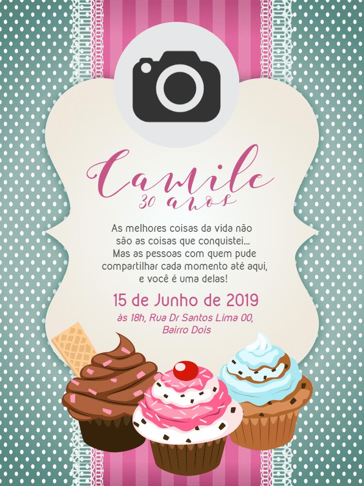 Convite Aniversário Cupcake, bolo, foto, festa, menina, delicado, verde, rosa, comemoração, celebração, online, digital, personalizado, whatsapp
