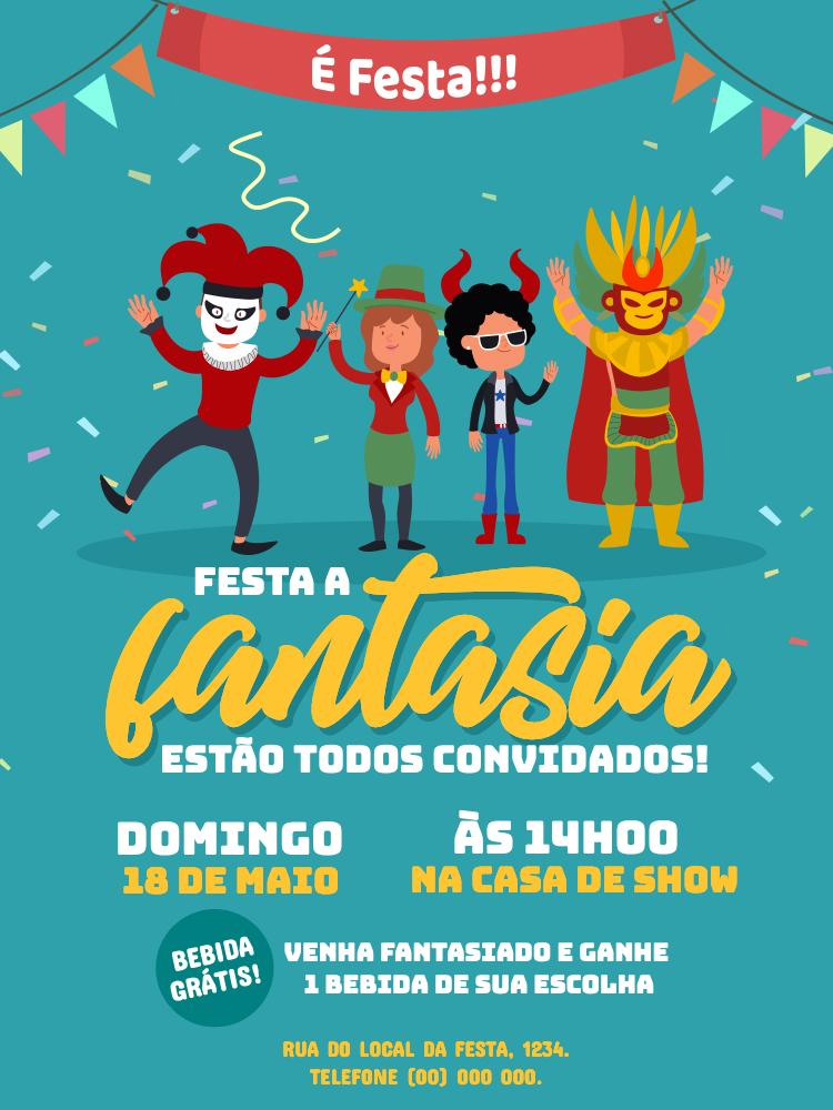 Convite Festa a Fantasia, adulto, confete, bandeirinhas, bloco, carnaval, comemoração, celebração, online, digital, personalizado, whatsapp