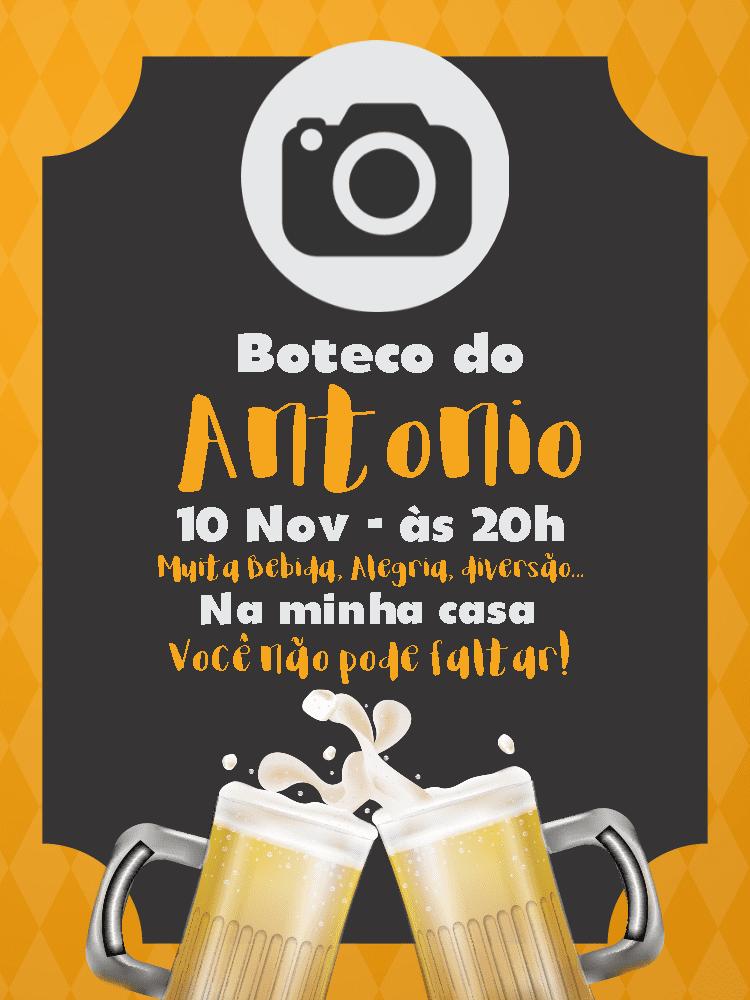 Convite Aniversário Cerveja, cerveja, drinque, amarelo, preto, foto, comemoração, celebração, online, digital, personalizado, whatsapp, adulto, festa