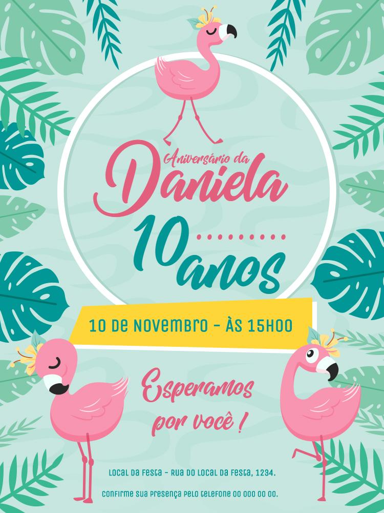 Convite Aniversário Flamingo, festa, infantil, menina, flamingo, folha, plantas, tropical, primavera, verão, comemoração, celebração, online, digital, personalizado, whatsapp