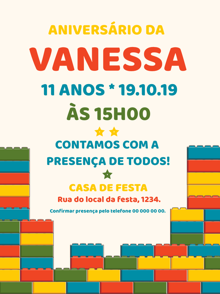 Convite Aniversário Lego, infantil, lego, brinquedo, menino, menina, comemoração, celebração, online, digital, personalizado, whatsapp