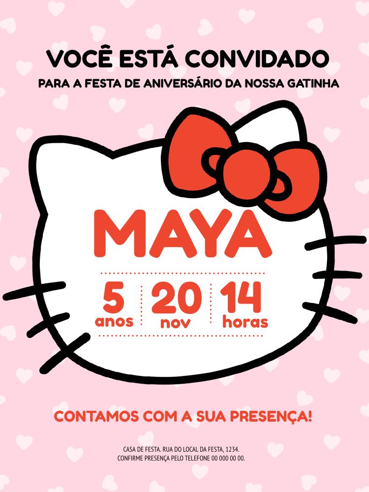 Convite Aniversário Hello Kitty, infantil, festa, gatinha, menina, rosa, coração, criança, comemoração, celebração online, digital, personalizado, whatsapp, top, laço