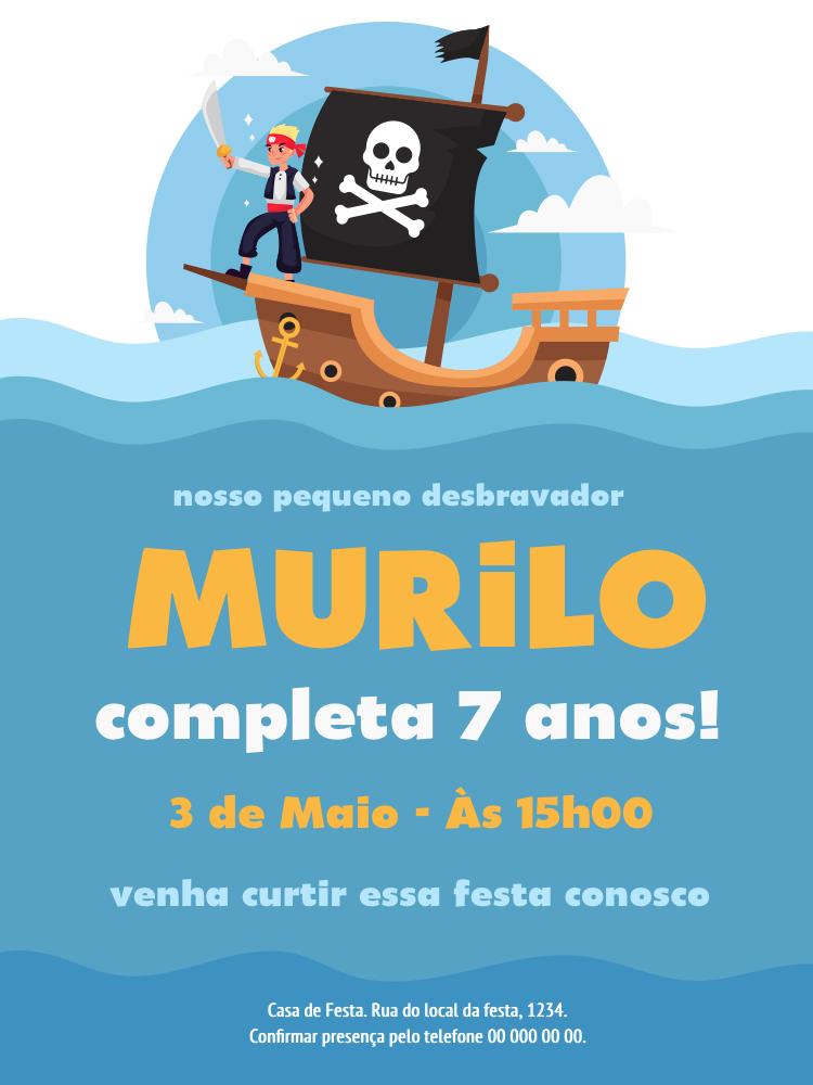 Convite Aniversário Piratas, festa, infantil, menino, mar, oceano, barco, caveira, ancora,  comemoração, celebração, online, digital, personalizado, whatsapp