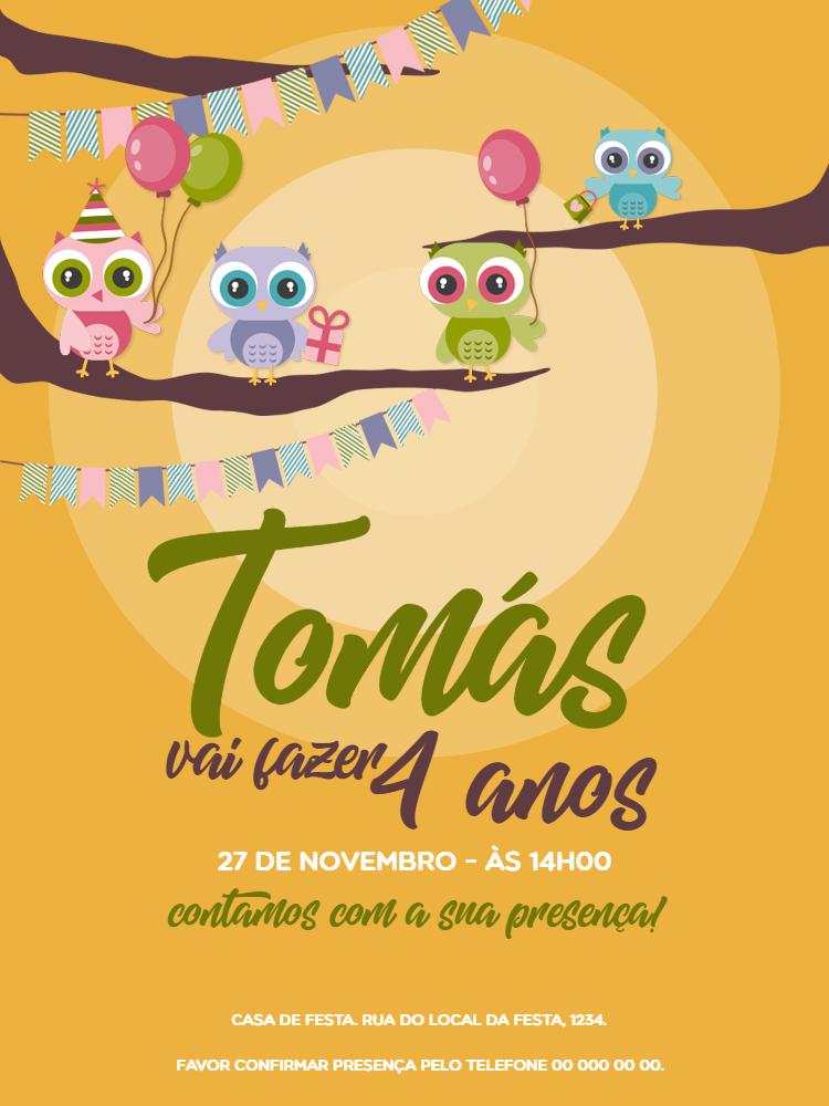 Convite Aniversário Coruja, infantil, festa, rosa, verde, azul, bandeirinhas, árvores, comemoração, celebração, online, digital, personalizado, whatsapp
