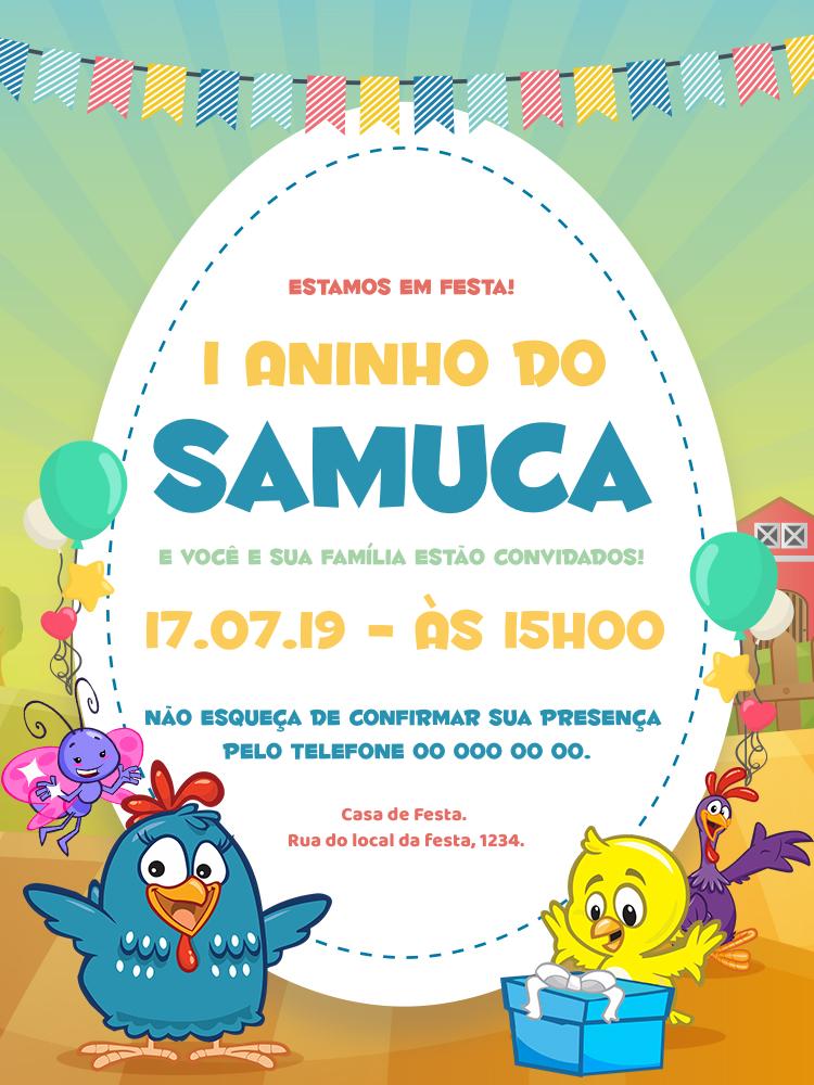Convite Aniversário Galinha Pintadinha, festa, infantil, colorido, fazenda, balões, balão, borboleta, presente, pintinho, galo, menina, menino, comemoração, celebração, online, digital, personalizado, whatsapp, bandeirinhas