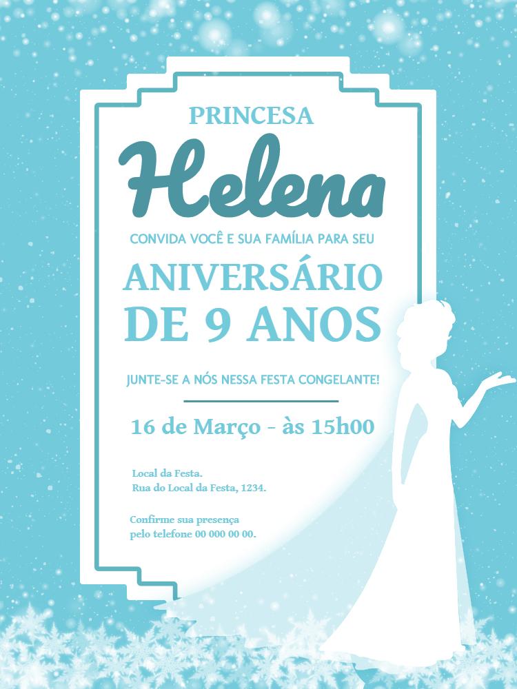 Convite Aniversário frozen, princesa, infantil, festa, disney, menina, Elsa, azul, neve, castelo, comemoração, celebração, online, digital, personalizado, whatsapp