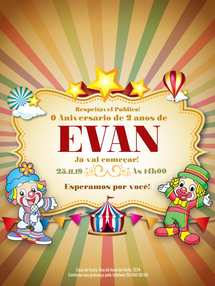 Convite Aniversário Patati Patata, festa, infantil, palhaços, circo, balão, estrelas, bandeirinhas, menino, menina, comemoração, celebração, online, digital, personalizado, whatsapp