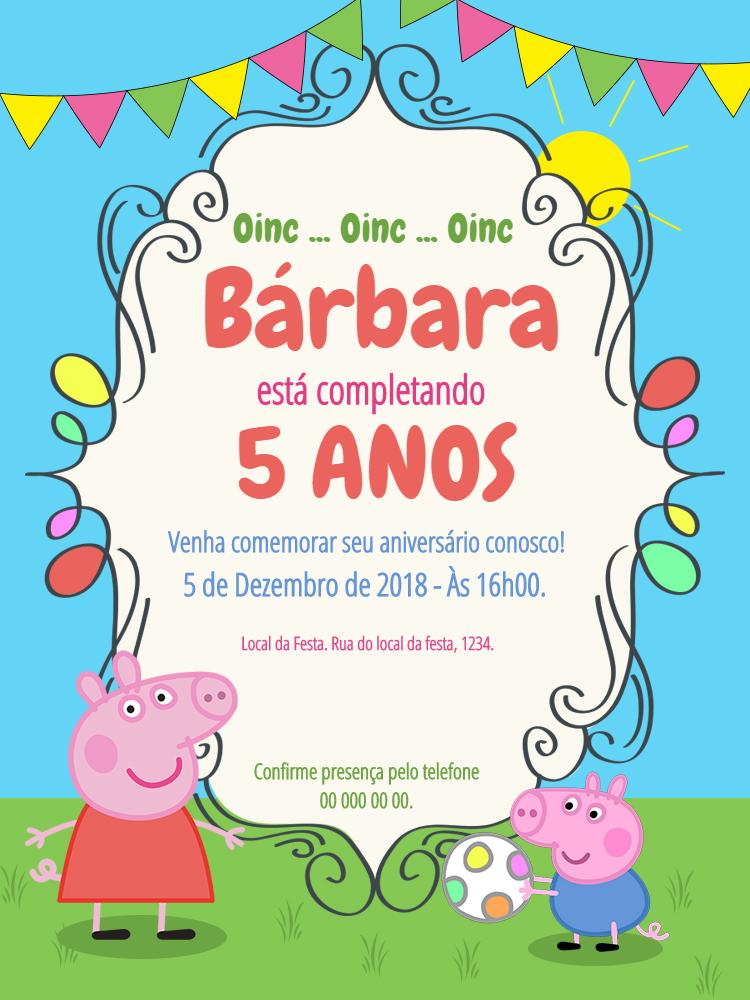 Convite Peppa Pig, infantil, festa, menina, colorido, Jorge, bandeirinhas, comemoração, celebração, online, digital, personalizado, whatsapp