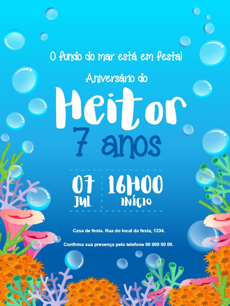 convite Aniversário Fundo do mar, infantil, festa, peixes, coral, bolhas, azul, algas, menino, comemoração, celebração, online, digital, personalizado, whatsapp