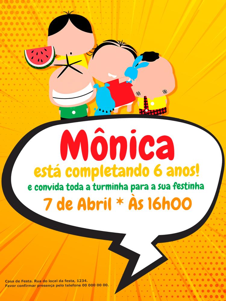 Convite Aniversário Turma da Mônica, infantil, festa, Magali, Cebolinha, Cascão, bebê, amarelo, comemoração, celebração, online, digital, personalizado, whatsapp