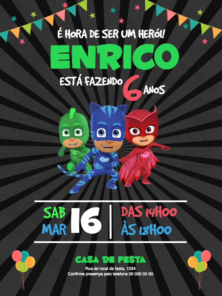 Convite Aniversário PJ Masks, infantil, festa, bandeirinhas, estrelas, balão, balões, colorido, menino, menina, comemoração, celebração, online, digital, personalizado, whatsapp