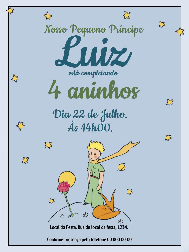 Convite Aniversário Pequeno Príncipe, festa, comemoração, infantil, estrelas, raposa, flor, celebração, online, digital, personalizado, whatsapp