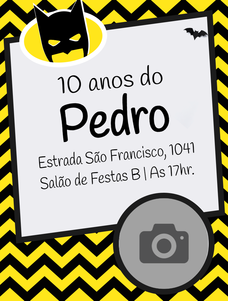 Convite Batman, Festa, menino, preto, amarelo, foto, infantil, comemoração, celebração, online, digital, personalizado, whatsapp