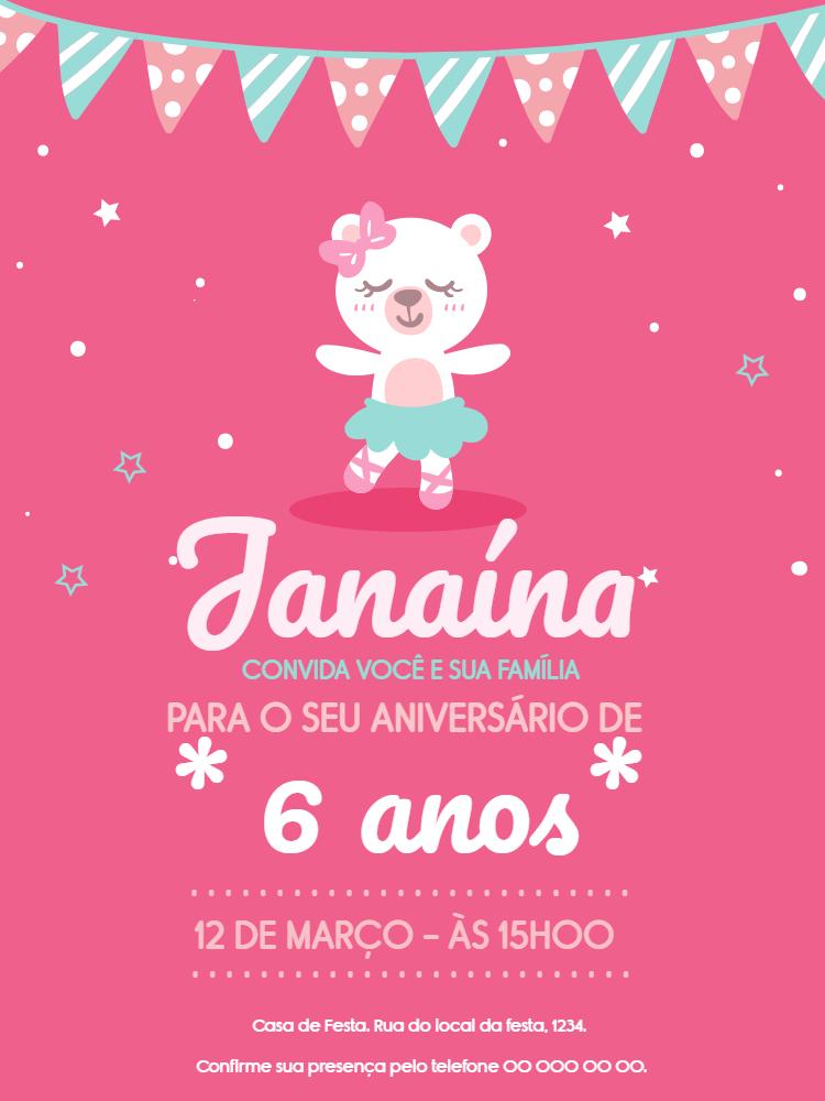Convite Aniversário Ursinho Menina, infantil, festa, menina, ursinho, rosa, bandeirinhas, estrelas, bolhinhas, chá, bebê, comemoração, celebração, online, digital, personalizado, whatsapp