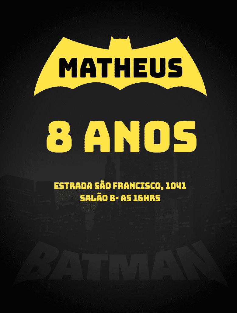 Convite Batman, amarelo, cinza, morcego, cidade, menino, infantil, online, digital, personalizado, whatsapp