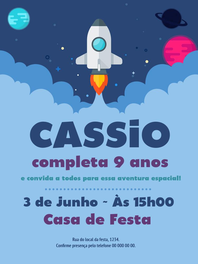 Convite Aniversário Foguete, infantil, festa, espaço, nuvem, planetas, menino, criança, comemoração, celebração, online, digital, personalizado, whatsapp