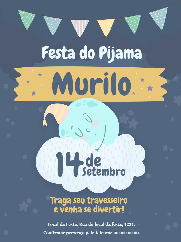 Convite Festa do Pijama, aniversário, menino, lua, bandeirinha, nuvem, noite, comemoração, celebração, online, digital, personalizado, whatsapp, delicado