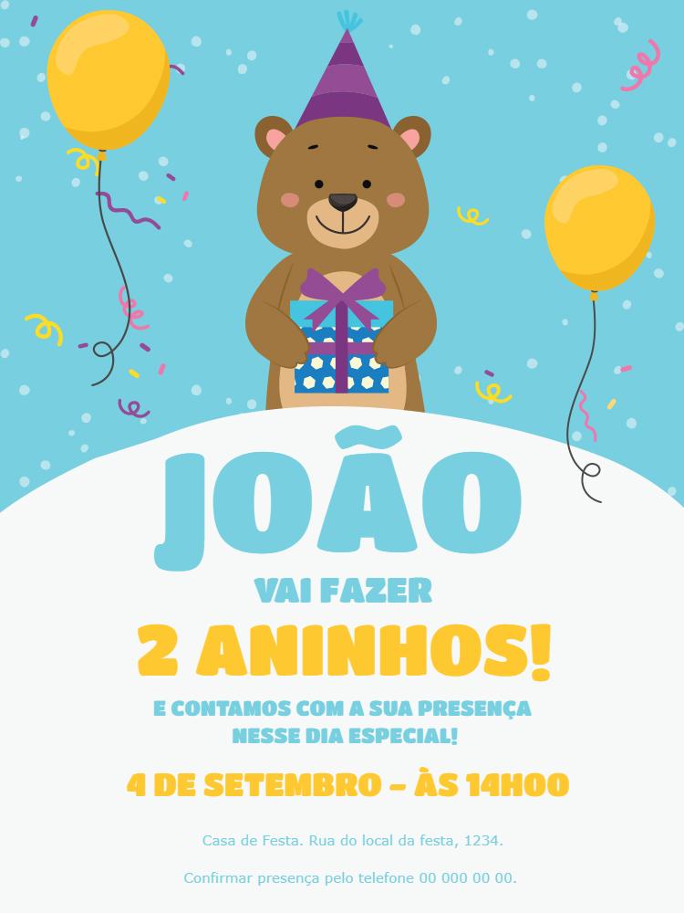 Convite Aniversário Ursinho Menino, infantil, festa, azul, balão, balões, confete, presente, comemoração, celebração, online, digital, personalizado, whatsapp